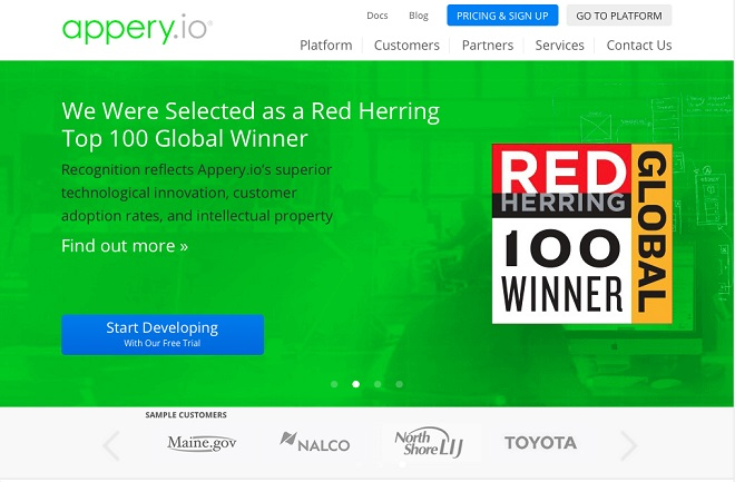 Appery.io screenshot homepage