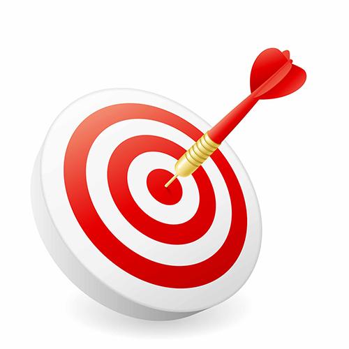 dartbord met pijl in midden (doel)